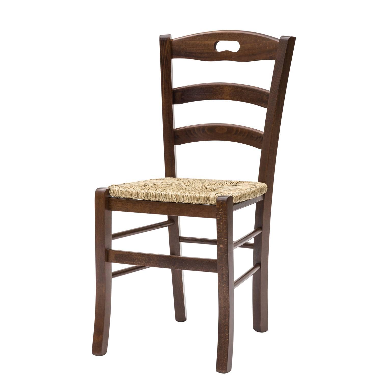 Sedia Paesana Savoy Fondo Paglia Color Noce 2 Pezzi disponibile anche con seduta in legno