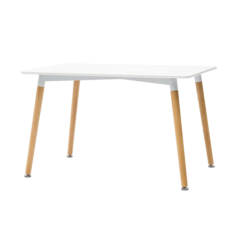 Tavolo rettangolare laccato bianco in mdf con gambe in faggio for Tavolo rettangolare bianco