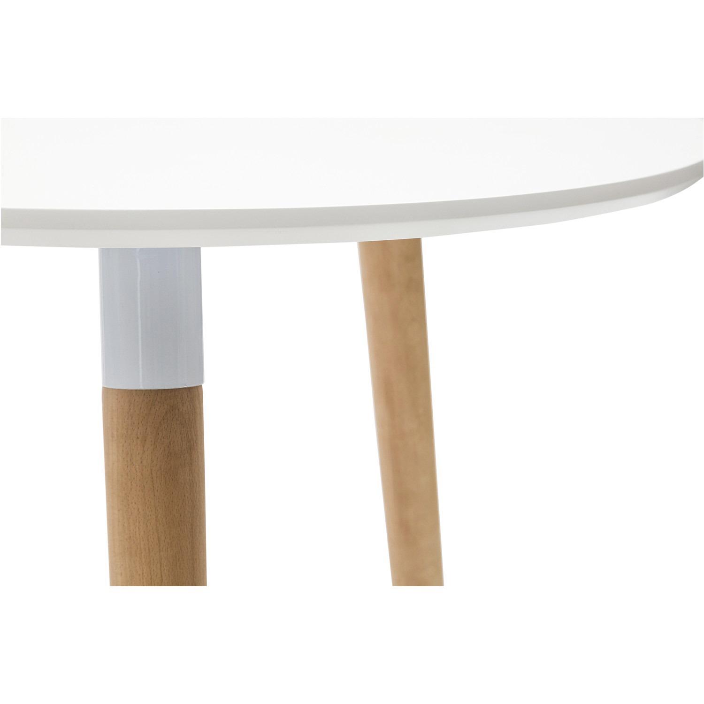 Tavolo Rotondo Laccato Bianco in Mdf con Gambe in Faggio