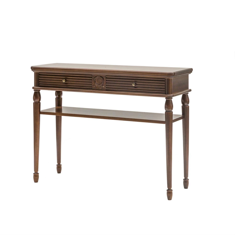 Consolle classica in legno tinta noce con cassetto for Mobili consolle ingresso classiche