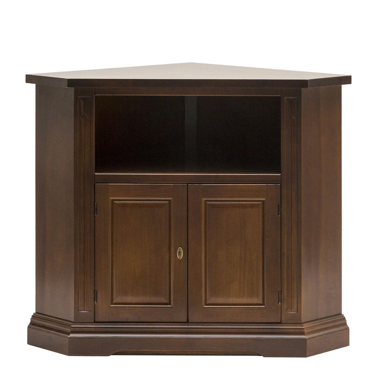 Mobile ad angolo porta tv in legno color noce a due ante - Mobili per tv in legno ...