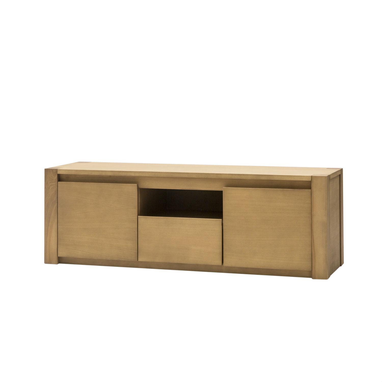 Mobile porta tv in legno naturale a due ante e 1 cassetto - Porta tv in legno ...