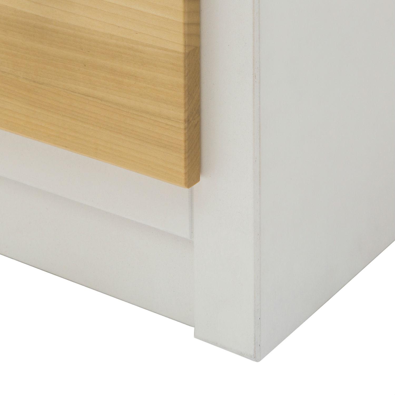 Mobile moderno porta tv in legno laccato bianco e naturale con 3 cassetti e vano a giorno - Mobile porta tv in legno ...