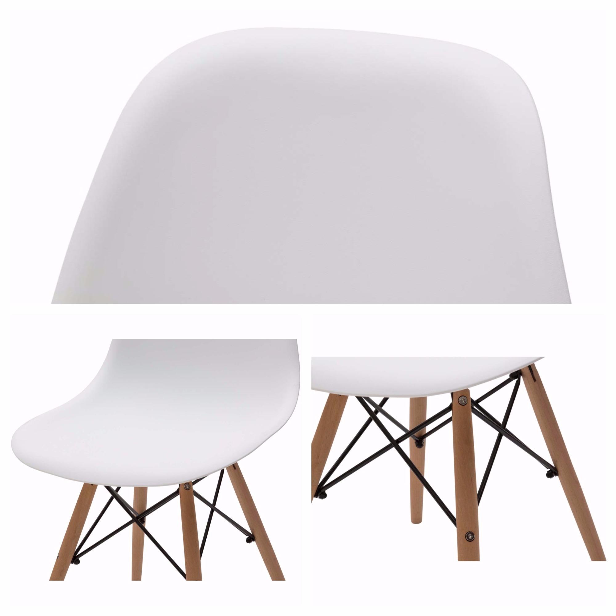 Sedia Wooden Design Moderno in Plastica Bianca Gambe in Legno SPEDIZIONE GRATIS  eBay