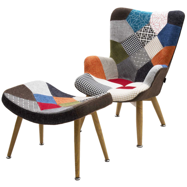 Poltrona patchwork tessuto multicolor con sgabello for Amazon sedie soggiorno