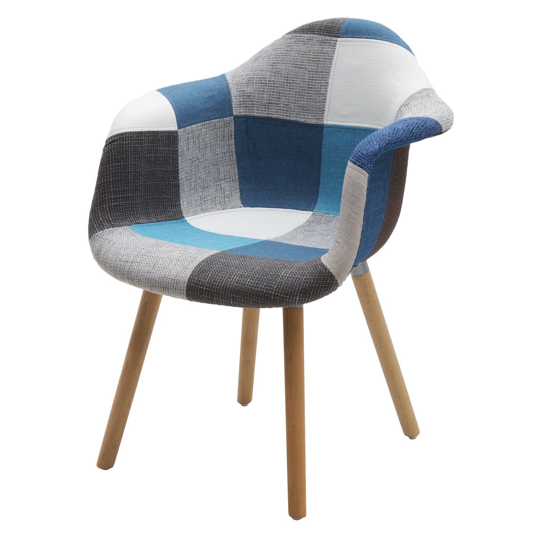 Sedia Moderna Patchwork con Poggiabraccia Tessuto Blue/Grey 2 pezzi