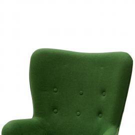 Poltrona Rivestita in Tessuto Verde con Pouf (disponibile anche in ...