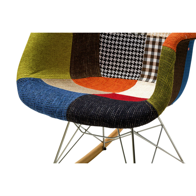 Sedia A Dondolo Tessuto.Sedia A Dondolo Patchwork Tessuto Multicolor