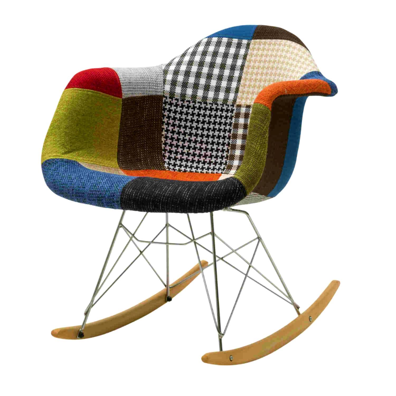 sedia a dondolo patchwork tessuto multicolor