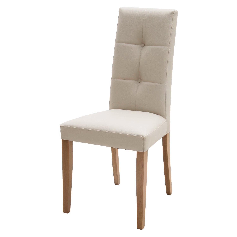 sedia moderna in ecopelle beige con fusto rovere con