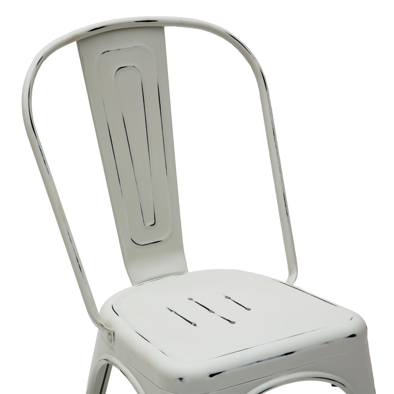 Sedia moderna in metallo colore bianco anticato 6 pezzi for Sedia bianca moderna