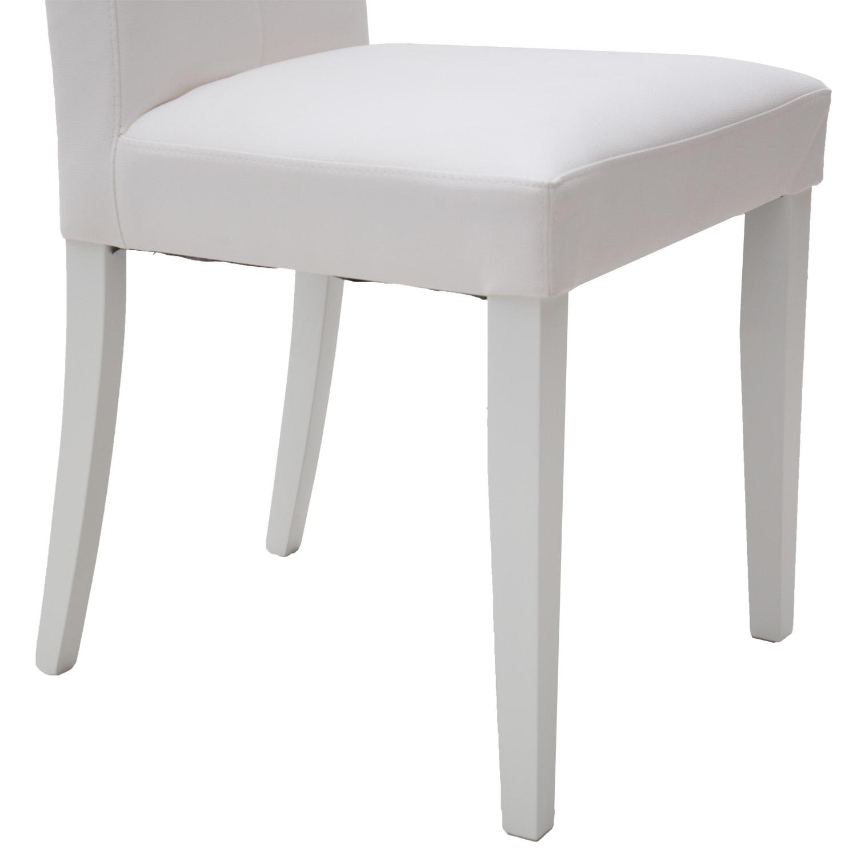 Sedia Moderna in Ecopelle Bianca con Fusto Bianco con Bottoni 2 ...