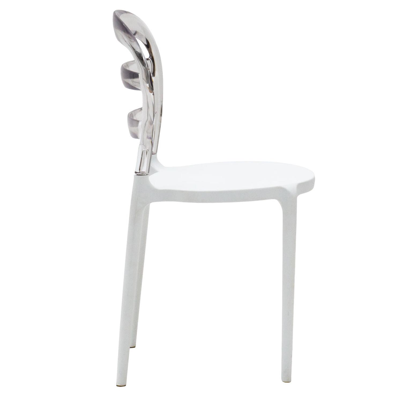 Sedia in Plastica Bianca con Schienale Trasparente 2 Pezzi