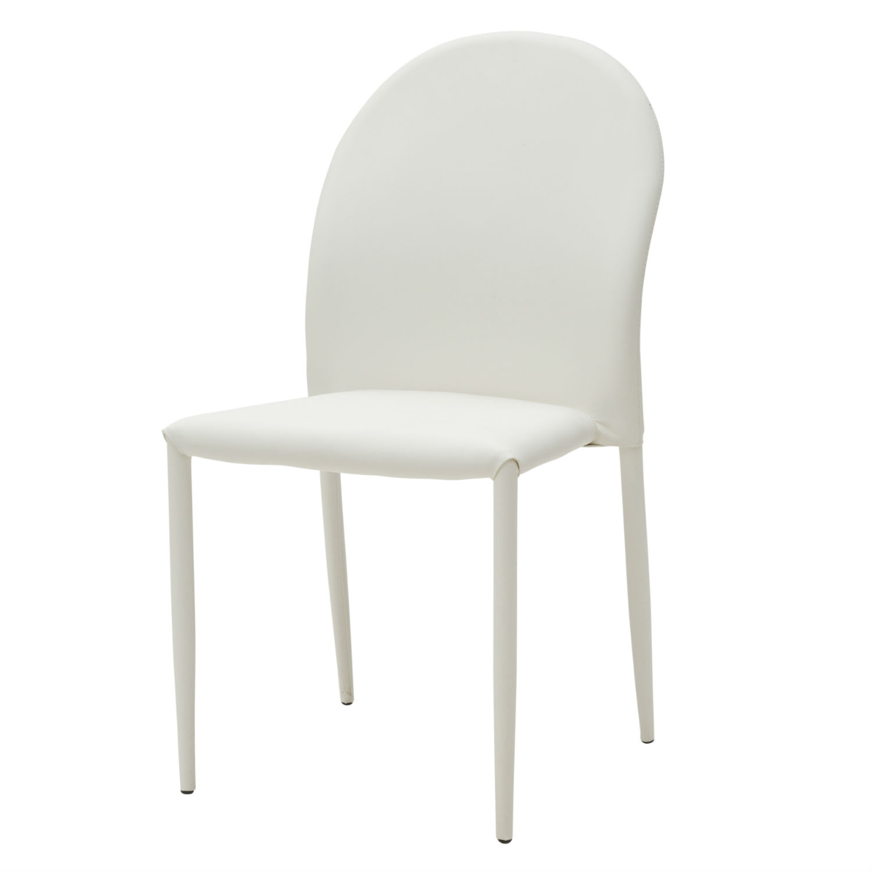 Sedia moderna per soggiorno in ecopelle bianca 4 pezzi for Sedia bianca moderna