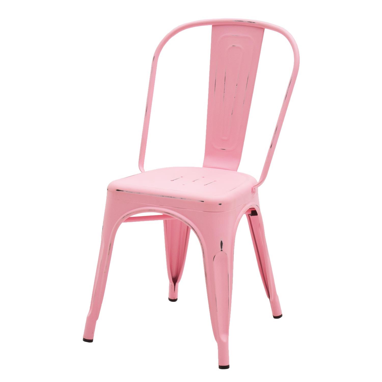 Sedia Stile Industry In Metallo Rosa Anticato 2 Pezzi