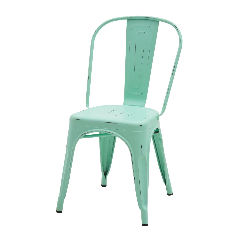 Sedia Moderna In Metallo Colore Verde Acqua Anticato 2 Pezzi (disponibile  anche in altri colori)