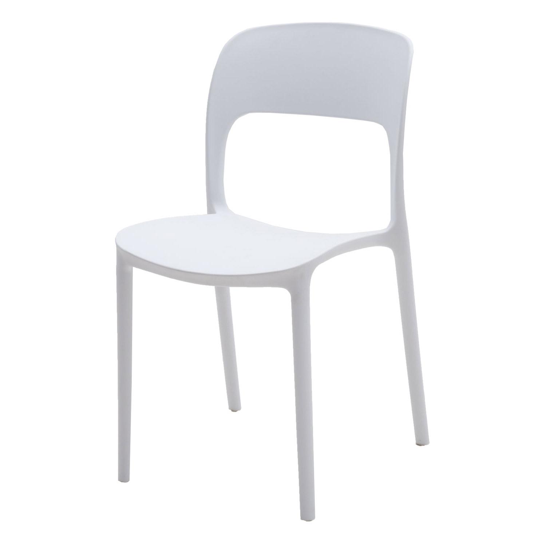 Sedia in plastica moderna bianco neve 2 pezzi for Sedia plastica bianca