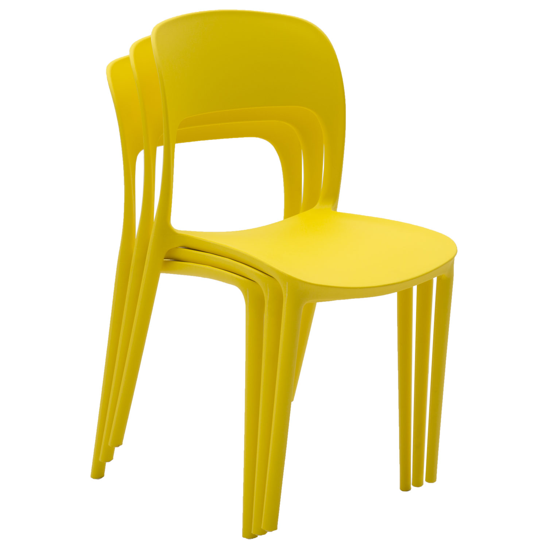 Sedia in Plastica Moderna Giallo Limone 2 Pezzi