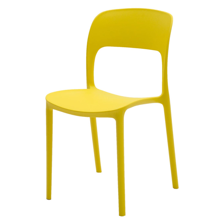 Sedia in plastica moderna giallo limone 2 pezzi - Sedie plastica design ...