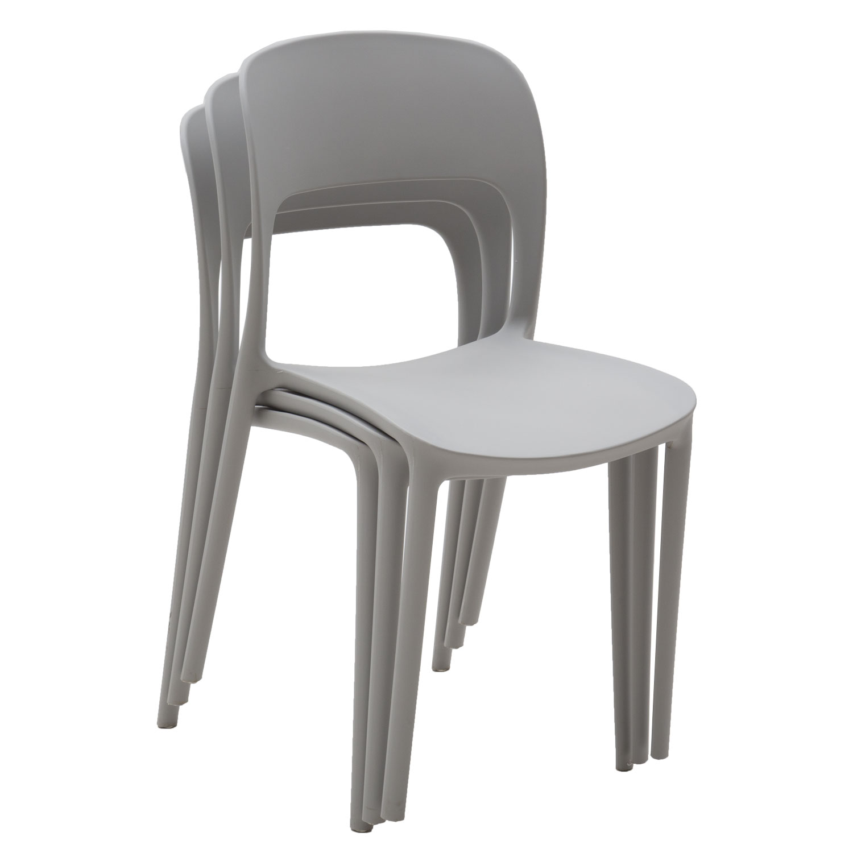 Sedia in Plastica Moderna Grigio Pietra 2 Pezzi