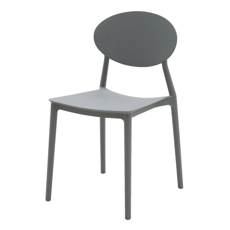 Sedia in Plastica Moderna Grigio Basalto 2 Pezzi