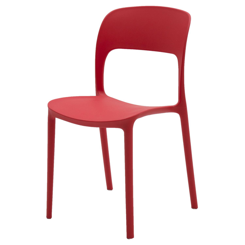 Sedia in Plastica Moderna Rosso Passione 2 Pezzi