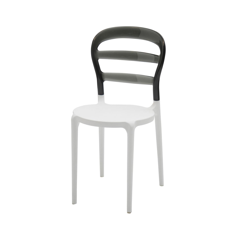 Sedie Moderne In Plastica.Sedia In Plastica Bianca Con Schienale Trasparente Grigio 4 Pezzi