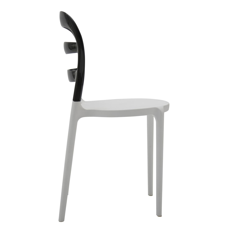 Sedia in Plastica Bianca con Schienale Trasparente Grigio 4 Pezzi