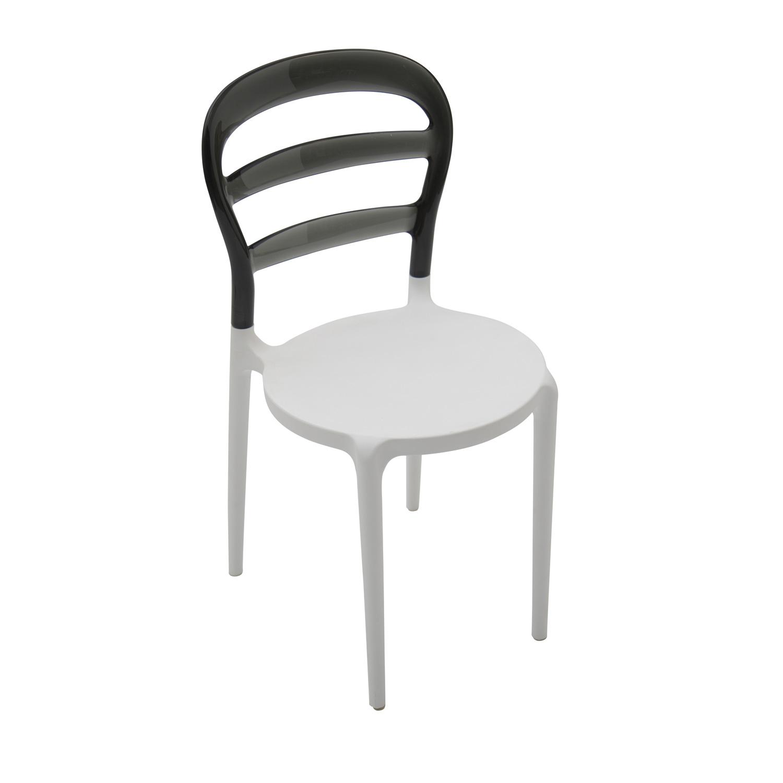 Sedia in plastica bianca con schienale trasparente grigio for Sedia plastica bianca
