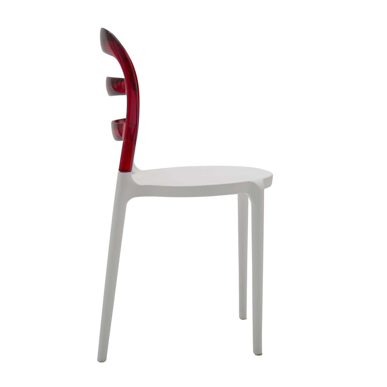 Sedia in plastica bianca con schienale trasparente rosso 4 for Sedia plastica bianca