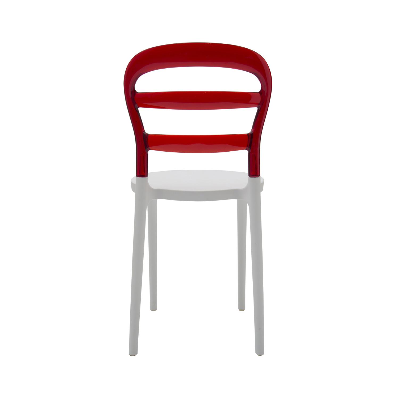 Sedia in Plastica Bianca con Schienale Trasparente Rosso 4 Pezzi