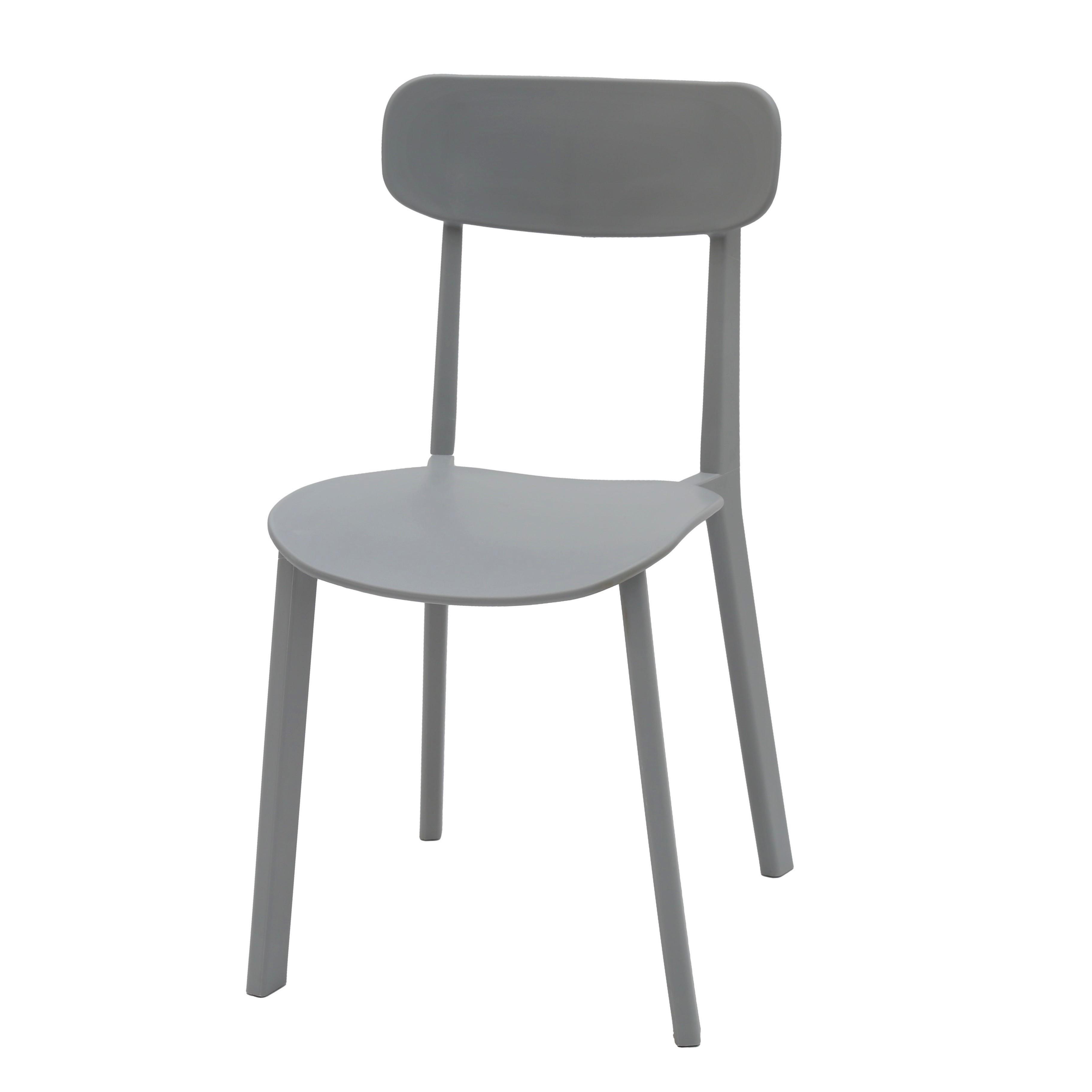 Sedia Moderna in Polipropilene Colore Grigio 4 Pezzi (disponibile anche in  altri colori)