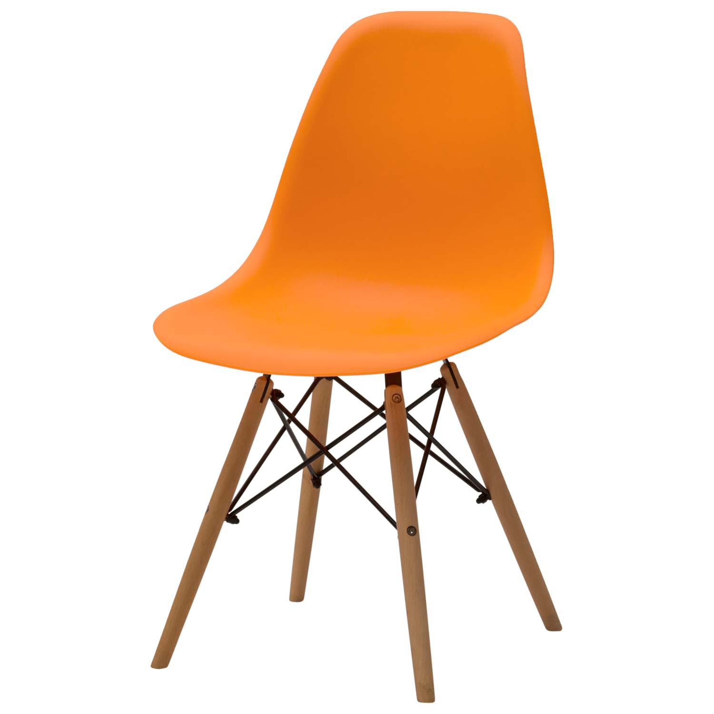 Sedia moderna in plastica arancio 4 pezzi disponibile for Sedia moderna bianca