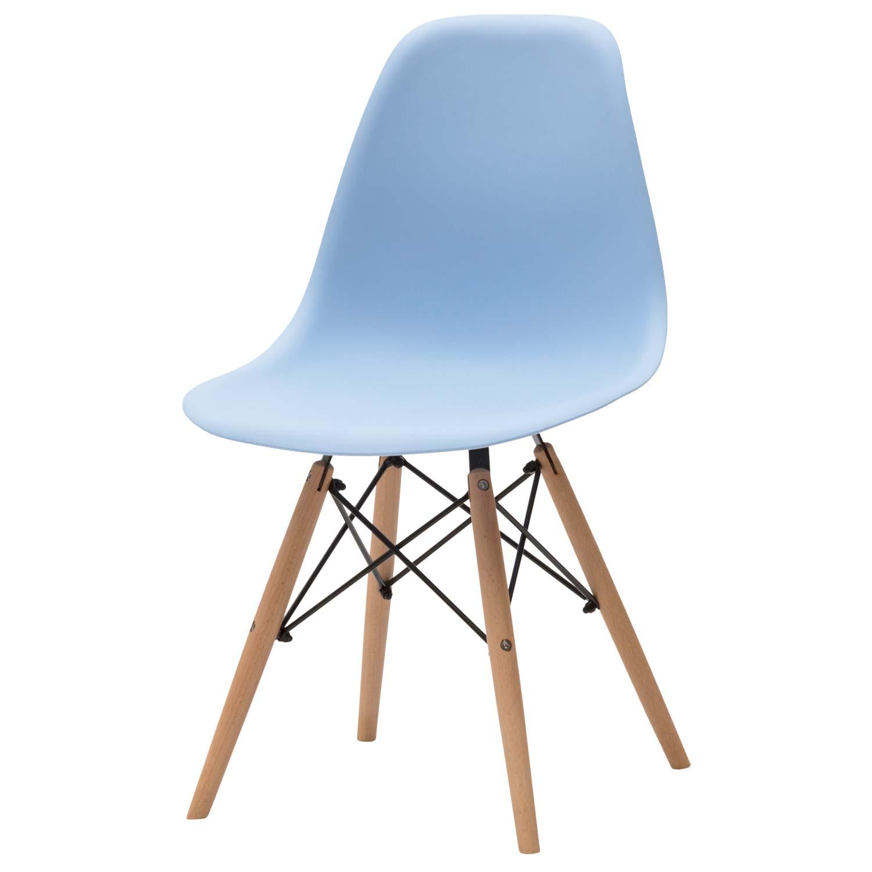 Sedia moderna in plastica azzurra 4 pezzi disponibile for Sedia bianca moderna