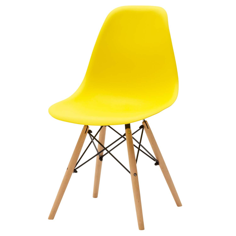 Sedia moderna in plastica gialla 4 pezzi disponibile for Sedia moderna design