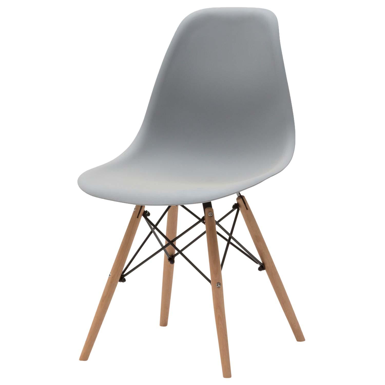 Sedia moderna in plastica grigia 4 pezzi disponibile for Sedia moderna design