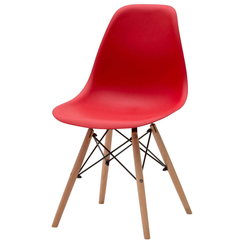 Sedia moderna in plastica rossa 4 pezzi disponibile anche for Sedia bianca moderna