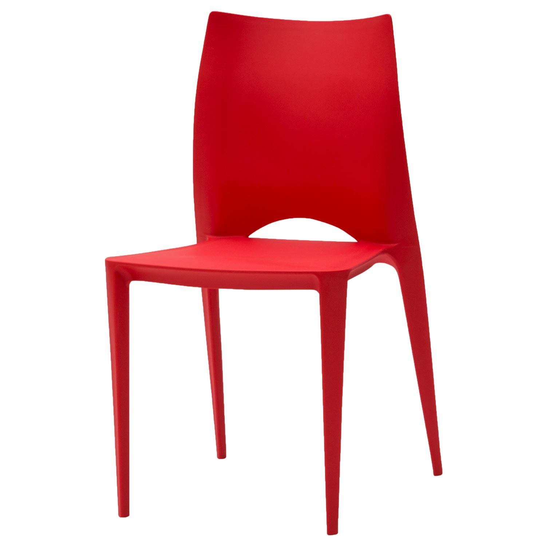 Sedia Moderna Impilabile Rossa 4 pezzi (disponibile anche in altri ...