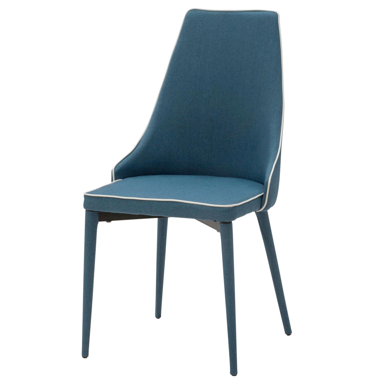 Sedia Moderna in Tessuto Blu con Bordo Bianco 4 Pezzi (disponibile ...