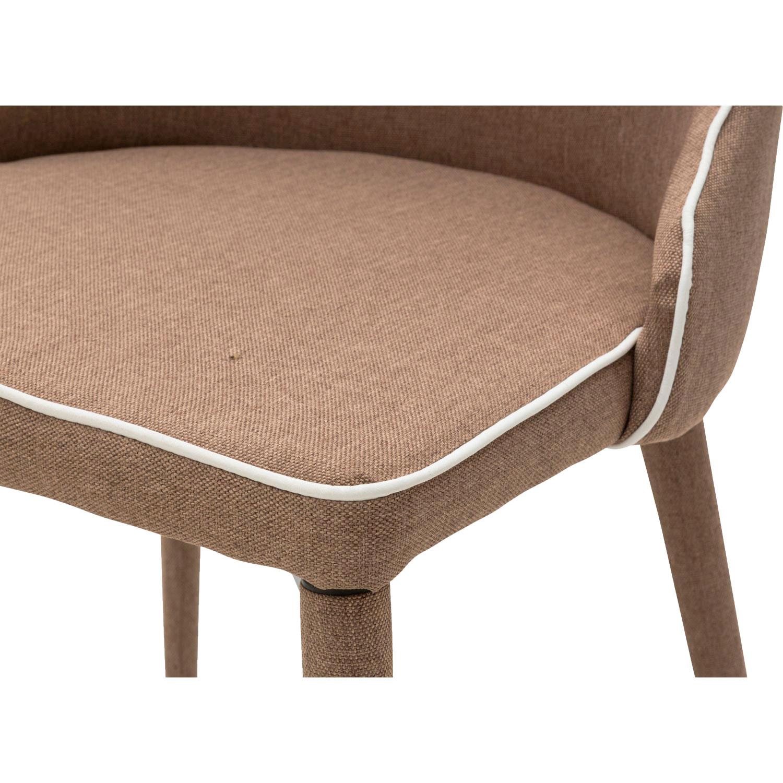 Sedia moderna in tessuto marrone con bordo bianco 4 pezzi for Sedia design marrone