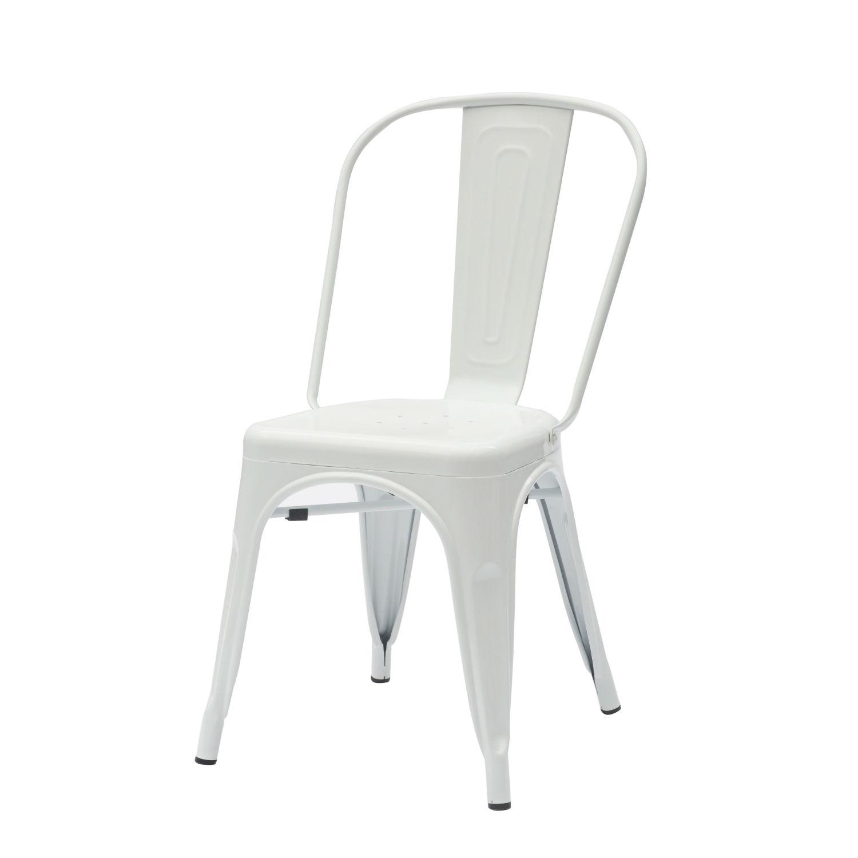 Sedia moderna in ferro colore bianco lucido 6 pezzi for Sedia moderna bianca