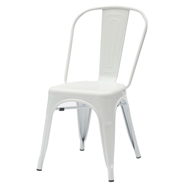 Sedia moderna in ferro colore bianco lucido 6 pezzi for Sedia bianca moderna