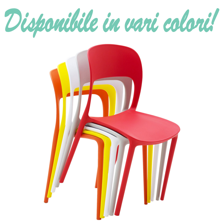 Sedie Di Plastica Colorate.Sedia In Plastica Moderna Bianco Neve 2 Pezzi