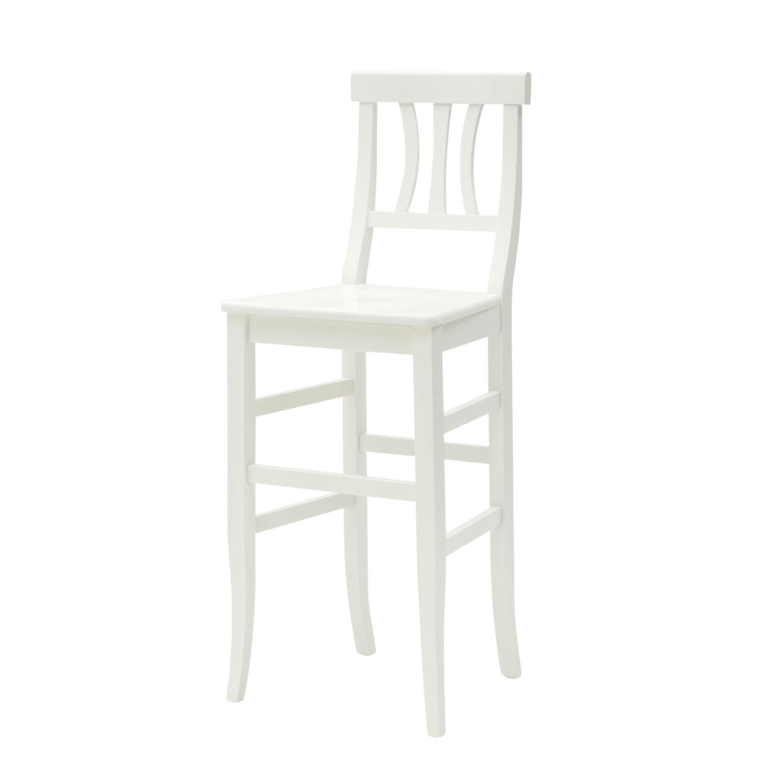 sgabello country in legno laccato bianco con seduta in legno