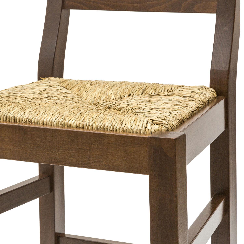Sgabello country in legno color noce con seduta in paglia for Sgabello bianco legno