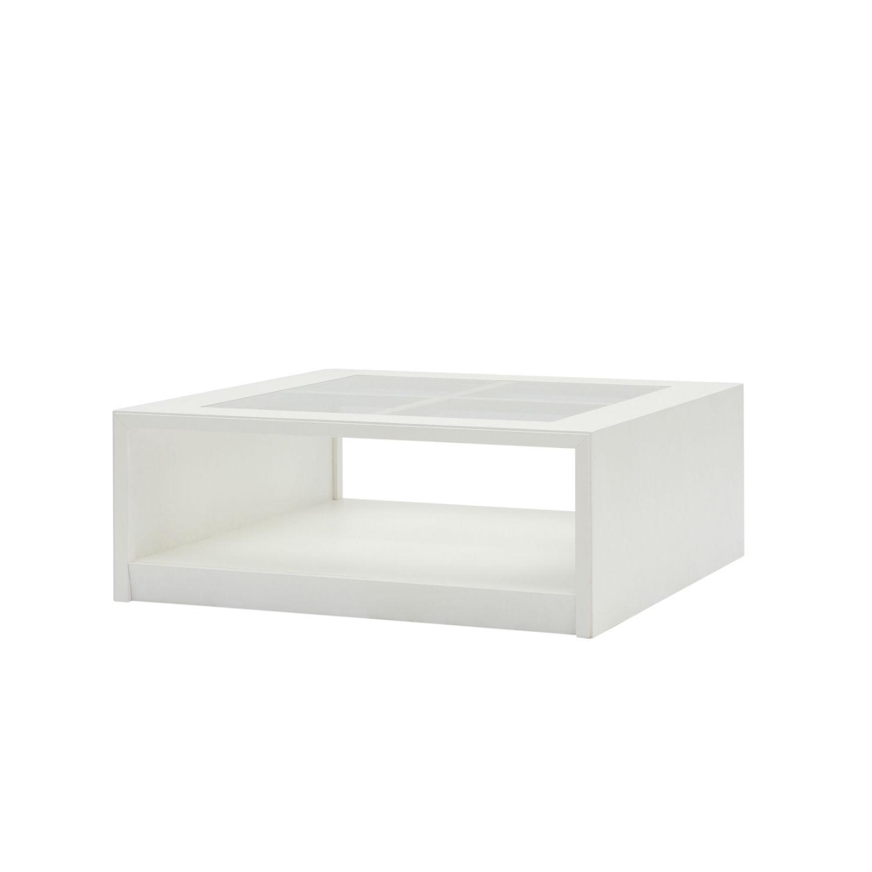 Tavolino Moderno Quadrato Basso Da Soggiorno In Legno Bianco Con Vetro