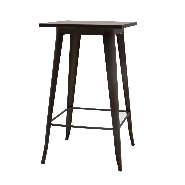 Tavolo Alto Moderno Quadrato Da Bar Testa Di Moro Piano Metallo