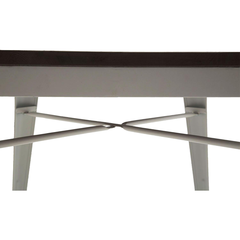 Tavolo Moderno Quadrato da Bar Bianco Anticato Piano Legno