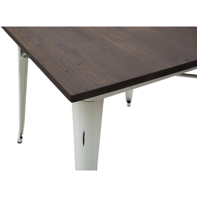 Tavolo Legno Bianco Anticato.Tavolo Moderno Quadrato Da Bar Bianco Anticato Piano Legno