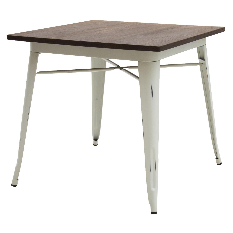 Tavolo moderno quadrato da bar bianco anticato piano legno - Tavolo quadrato legno ...